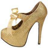 gull strass 14,5 cm Burlesque TEEZE-04R høye platform pumps sko