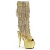 gull strass 18 cm ADORE-2024RSF høye støvletter med frynser til dame