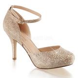 gull strass 9 cm COVET-03 klassiske pumps sko til dame