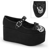 hodeskalle lerret 8 cm CLICK-02-3 lolita sko gothic platåsko tykke såler