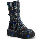 hologram 5 cm EMILY-330 høye platåstøvler til dame med spenner