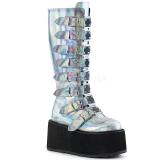 hologram 9 cm DAMNED-318 høye platåstøvler til dame med spenner