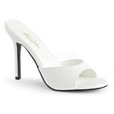 hvit 10 cm CLASSIQUE-01 dame slip ins med hæler