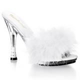 hvit 12,5 cm GLITZY-501-8 marabou fjær høye sko mules