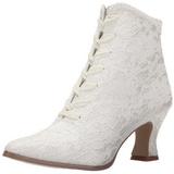 hvit 12 cm VICTORIAN-30 dame ankelstøvletter med snøring