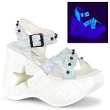 hvit 13 cm Demonia DYNAMITE-02 lolita sandaler med kilehæler