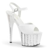 hvit 18 cm ADORE-709VLRS high heels platå med strassteiner