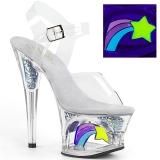 hvit 18 cm MOON-708RSS neon platå høye hæler dame