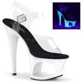 hvit 18 cm MOON-708UV høyhælte sandaler neon platå