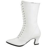 hvit 7 cm VICTORIAN-120 dame ankelstøvletter med snøring