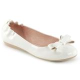 hvit OLIVE-03 ballerinasko lave damesko med sløyfe