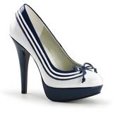 hvit blå 13 cm LOLITA-13 høye pumps fest sko med hæl