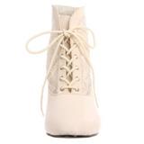 hvit blondestoffer 5 cm DAME-05 dame ankelstøvletter med snøring