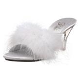 hvit fjær 8 cm BELLE-301F høye slip in sko til menn