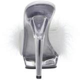 hvit gjennomsiktig 13 cm LIP-101-8 plateau høyhælte slipper sko