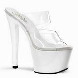 hvit gjennomsiktig 18 cm SKY-302 plateau høyhælte slipper sko