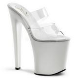 hvit gjennomsiktig 20 cm XTREME-802 plateau høyhælte slipper sko