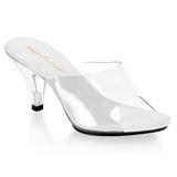 hvit gjennomsiktig 8 cm BELLE-301 høye slip in sko til menn