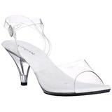 hvit gjennomsiktig 8 cm Pleaser BELLE-308 høye hæler sko
