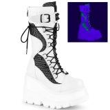 hvit glitter 11,5 cm SHAKER-70 cyberpunk platåstøvler