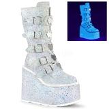 hvit glitter 14 cm SWING-230G cyberpunk platåstøvler