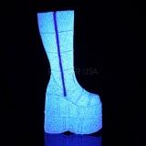hvit glitter 18 cm STACK-301G demonia støvler - unisex cyberpunk støvler