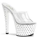 hvit krystall platform 18 cm STARDUST-701 høyhælte slipper sko