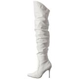 hvit kunstlær 10 cm CLASSIQUE-3011 lårhøye støvler
