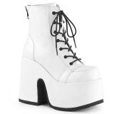 hvit kunstlær 13 cm DEMONIA CAMEL-203 gothic ankelstøvler
