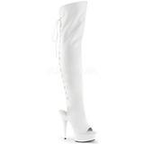 hvit kunstlær 15 cm DELIGHT-3019 Lårhøye støvletter platå