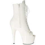 hvit kunstlær 18 cm ADORE-1021 ankelstøvletter med platåsåle til dame
