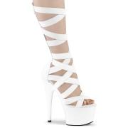 hvit kunstlær 18 cm ADORE-700-48 høye hæler med ankel blonder