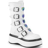hvit kunstlær 5 cm EMILY-330 høye platåstøvler til dame med spenner