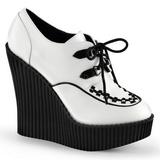 hvit kunstlær CREEPER-302 wedge creepers sko med kilehæler