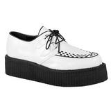 hvit kunstlær V-CREEPER-502 platå creepers sko til menn
