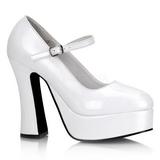 hvit lakk 13 cm DOLLY-50 Mary Jane platå pumps høy hæl