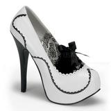 hvit lakk 14,5 cm Burlesque BORDELLO TEEZE-01 platå pumps høy hæl