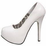 hvit lakk 14,5 cm Burlesque BORDELLO TEEZE-06 platå pumps høy hæl