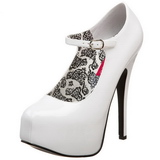 hvit lakk 14,5 cm Burlesque BORDELLO TEEZE-07 platå pumps høy hæl