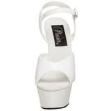 hvit lakk 15 cm KISS-209 plattform hæl sko