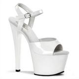 hvit lakk 18 cm Pleaser SKY-309 plattform hæl sko