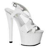 hvit lakk 18 cm Pleaser SKY-330 platå høye hæler sko