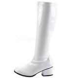 hvit lakk 5 cm RETRO-300 dame støvletter med høye hæler