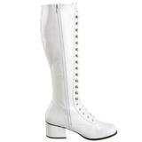 hvit lakk 5 cm RETRO-302 høye dame støvler med snøring