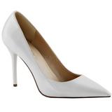 hvit lakkert 10 cm CLASSIQUE-20 dame pumps sko stiletthæl