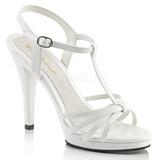 hvit lakkert 12 cm FLAIR-420 dame sandaletter lavere hæl