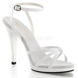 hvit lakkert 12 cm FLAIR-436 dame sandaletter lavere hæl