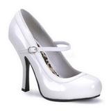hvit lakkert 12 cm PRETTY-50 dame pumps sko flate hæl