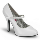 hvit lakkert 12 cm TEMPT-35 dame pumps sko flate hæl