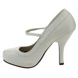 hvit lakkert 12 cm rockabilly PRETTY-50 dame pumps med lave hæl